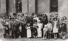 Click for a larger image of Iris Hiscock's wedding, May 1945, Cann