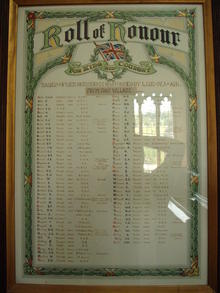 Click for a larger image of Roll of Honour, Croscombe Church, Somerset
