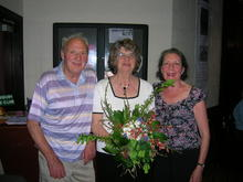 Click for a larger image of Margaret with club founders Wendy and Jim