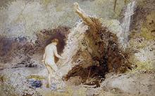 Click for a larger image of Landscape with Figure Bathing